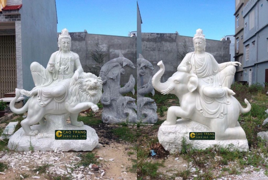 tượng phổ hiền và văn thù bồ tát bằng đá