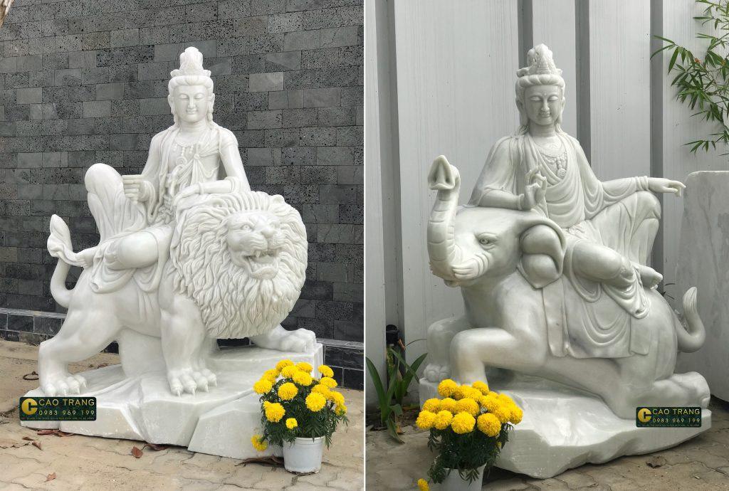 tượng phổ hiền và văn thù bồ tát bằng đá 2