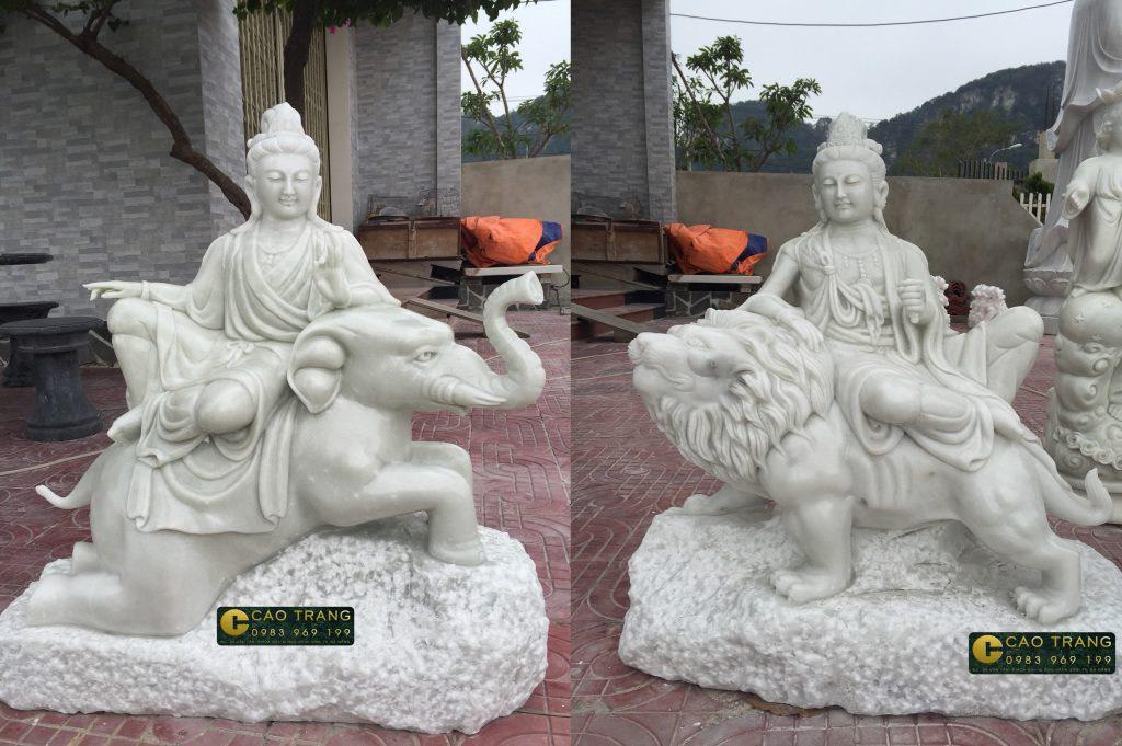 tượng phổ hiền và văn thù bồ tát bằng đá 4