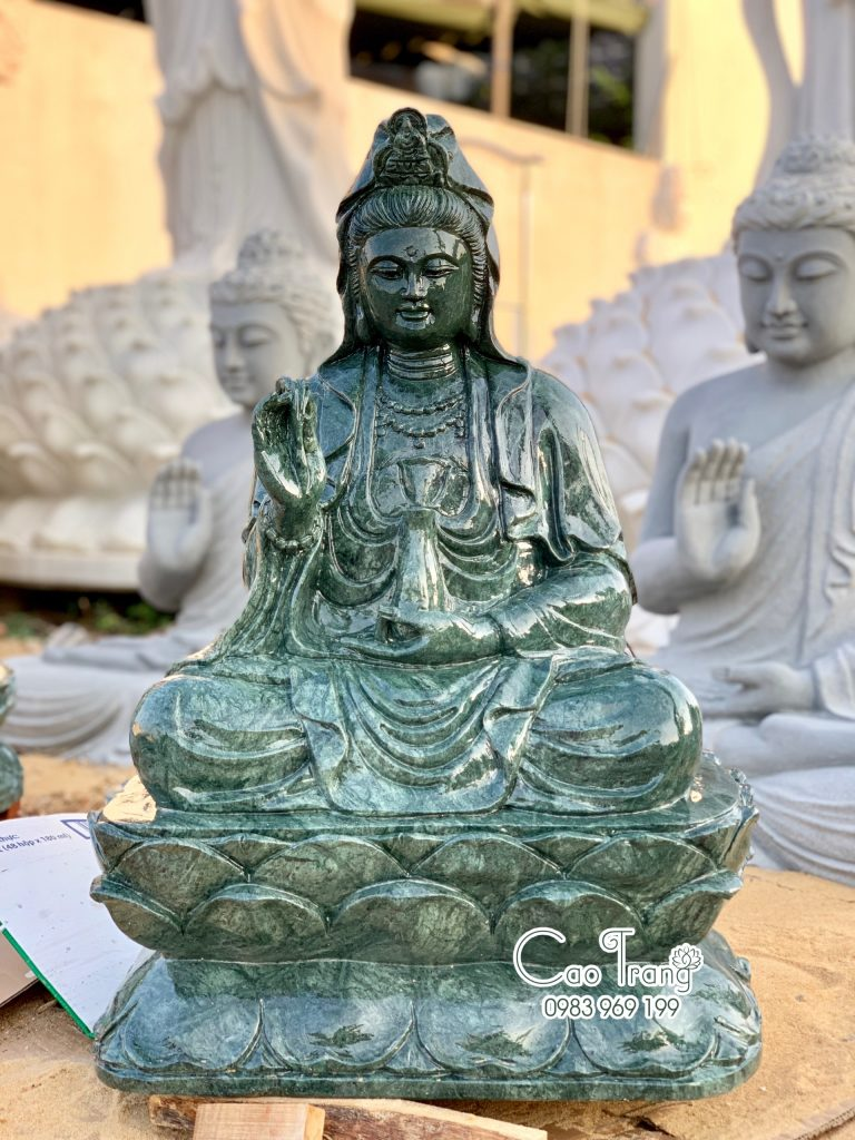 Tượng Quan Âm ngồi bằng đá Ấn Độ